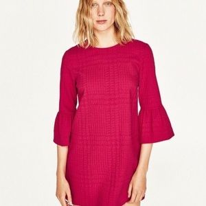 ZARA WOMAN HOT PINK RUFFLE SLEEVE MINI DRESS